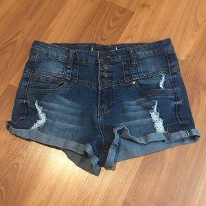 Stitches High-Rise Jean Shorts